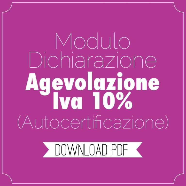 Tomasi info incentivi iva agevolata for Autocertificazione iva 10